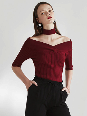 Sheath Casual Half Sleeve Ribbed Sweater_1