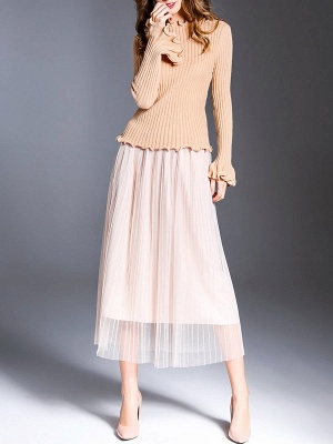 Apricot Wool Bateau/boat neck Solid Casual Sweater_4