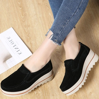 Casual Round Toe Leather Flat Heel Loafers_4