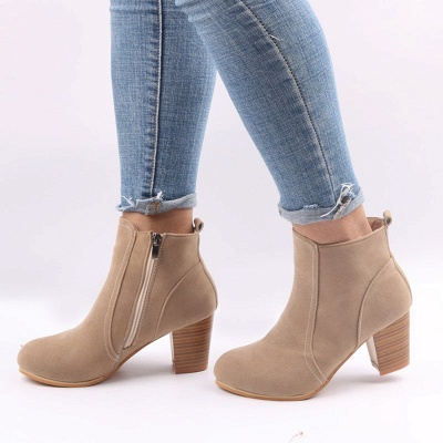 Suede Chunky Heel Zipper Daily Round Toe Boot_1