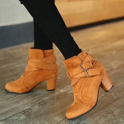 Suede Buckle Chunky Heel Daily Elegant Round Toe Boot_2