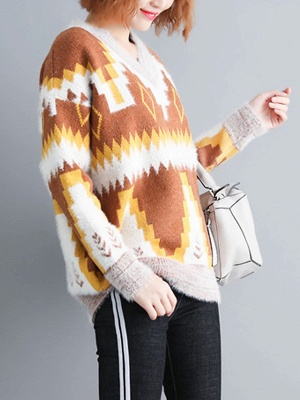 Printed Casual Long Sleeve Sweater_8