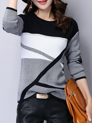 Casual Knitted Long Sleeve Sweater_1