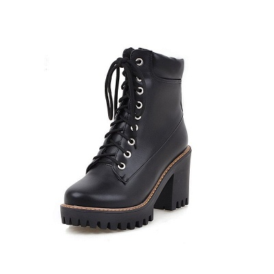 Daily Lace-up PU Round Toe Chunky Heel Boots_9