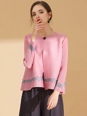 Pink Buttoned Color-block Pleated Beaded Coat_1