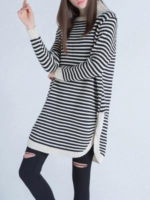 Beige Long Sleeve Turtleneck Stripes Sweater_5