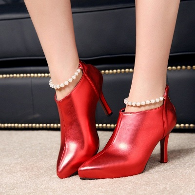 Silver Zipper Daily Elegant Stiletto Heel Pointed Toe Boots_5