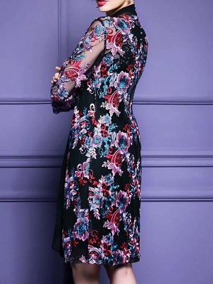 Black Floral Shift 3/4 Sleeve Casual Coat_3