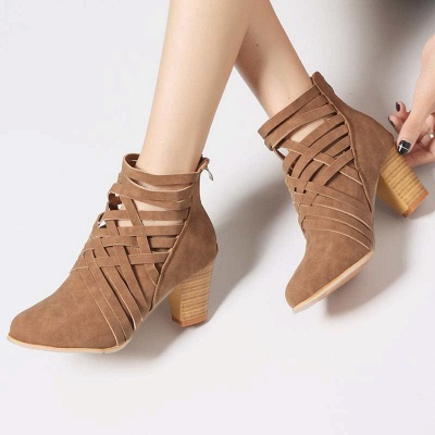 Zipper Pointed Toe Chunky Boots_8