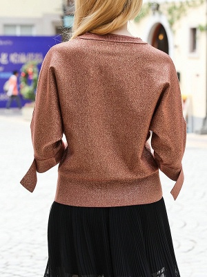 Brown Crew Neck Shift Casual Knit Top_3
