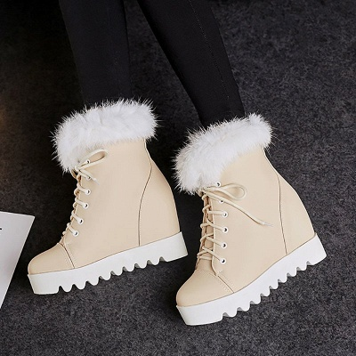 Lace-up Daily Wedge Heel Round Toe Fur PU Boot_3