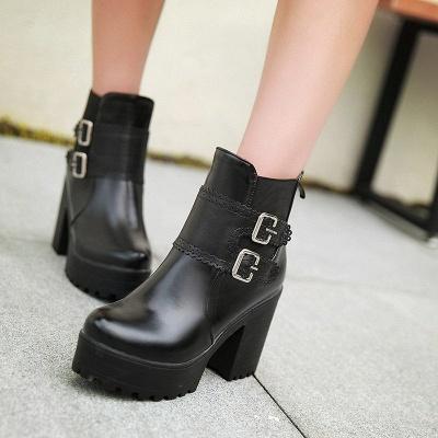 Buckle PU Chunky Heel Round Toe Boot_3