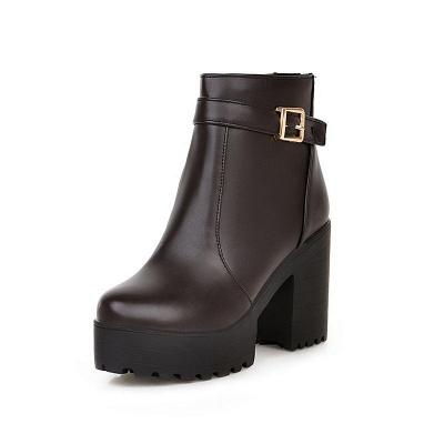Daily PU Chunky Heel Round Toe Elegant Boots_7
