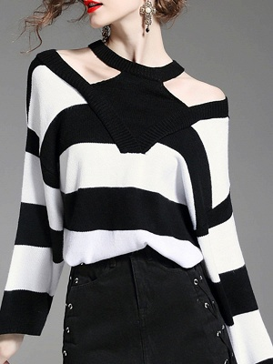 Black-white Crew Neck Shift Long Sleeve Solid Sweater_7