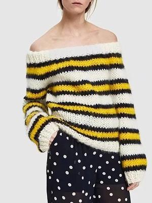 Striped Printed Bateau/boat neck Casual Sweater_1