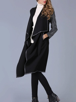 Black Shawl Collar Casual Paneled Coat_4