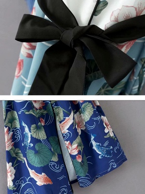 Blue Bow Casual Color-block Floral Printed Shift Coat_4