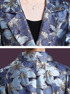 Blue Casual Shift Lapel Pockets Coat_5