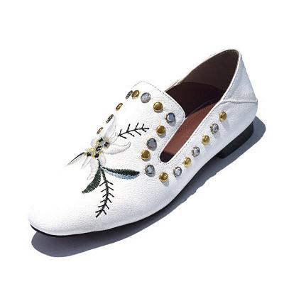 Beading Flat Heel PU Summer Daily Loafer_1