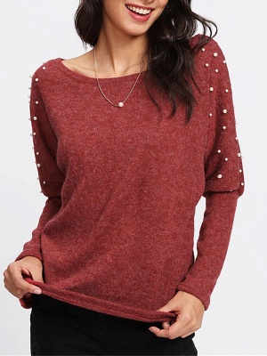 Red Long Sleeve Solid Casual Sweater_4
