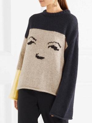 Multicolor Pleated Shift Long Sleeve Plain Sweater_3