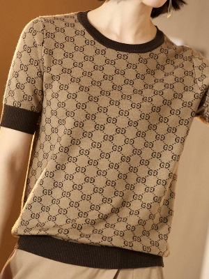 Knitted Crew Neck Short Sleeve Casual Summer Sweater_5