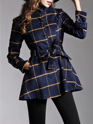 Navy Blue Bow Casual Stand Collar Checkered/Plaid Coat_5