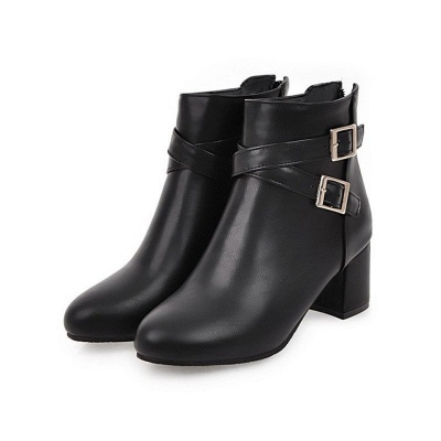Daily Chunky Heel Buckle Pointed Toe Boots_3