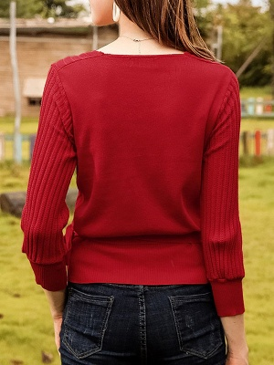 Casual Long Sleeve Shift V neck Sweater_7