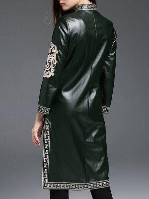 Green Buttoned PU Stand Collar Embroidered Coat_3