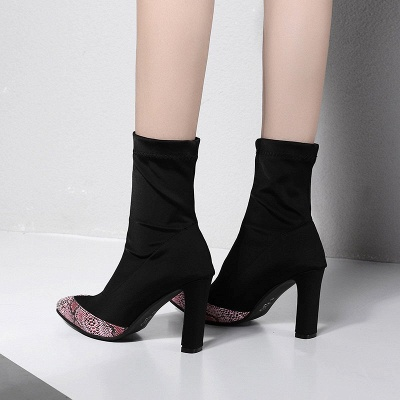 Daily Chunky Heel Pointed Toe Elegant PU Boots_4