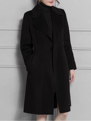 Casual Long Sleeve Lapel Solid Pockets Buttoned Coat_5