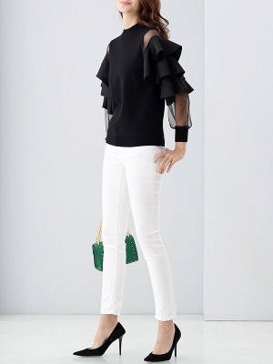 Long Sleeve Crew Neck Casual Knitted Ruffled Sweater_4