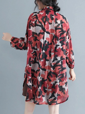 Camouflage Casual Long Sleeve Abstract Shift Printed Coat_3