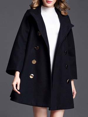 Navy Blue Shift Shawl Collar Buttoned Pockets Coat_4