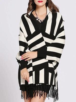 Striped Fringed Shift Long Sleeve Elegant Sweater_4