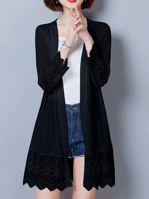 Paneled Casual Shift Long Sleeve Chiffon Coat_2