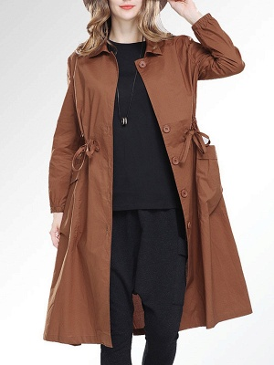 Solid Casual Long Sleeve Coat_1