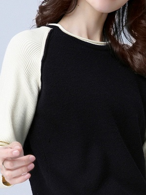 Patch Long Sleeve Casual Crew Neck Sweater_8