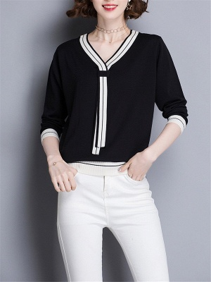 Casual Intarsia Shift Ice Yarn Knitted Simple Sweater_3