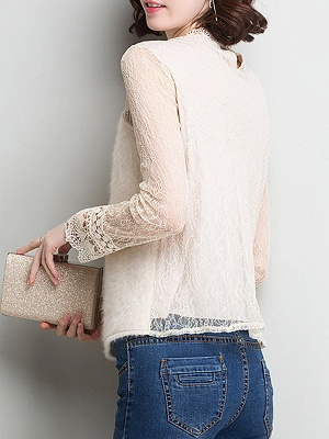 Wool Casual Long Sleeve Sweater Lace Mesh Knitted Top_6