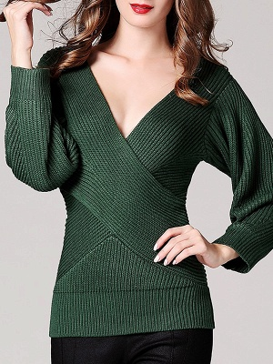 Green Sheath Long Sleeve Plunging neck Sweater_1