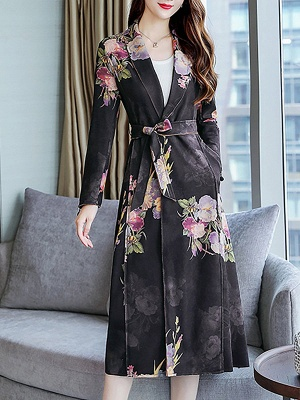 Floral Shawl Collar A-line Floral-print Pockets Long Sleeve Coat_3