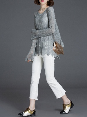 Crocheted Daily Casual Knitted Shift Sweater_10