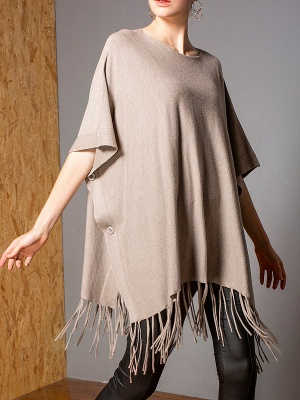 Casual Shift Crew Neck Batwing Sweater_1