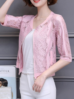 3/4 Sleeve Shift Crew Neck See-through Look Guipure lace Coat_10