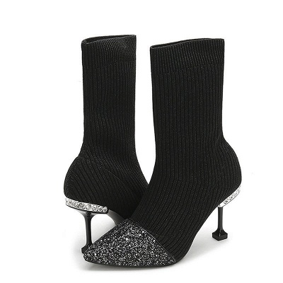 Daily Pointed Toe Cone Heel Knitted Fabric Elegant Boots_2