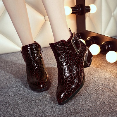 Zipper  Chunky Heel Embossing Boots_4