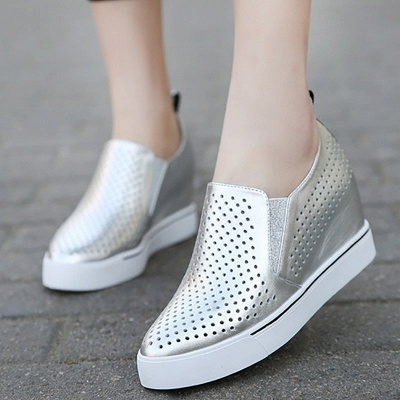 Hollow-out Wedge Heel Daily Pointed Toe Loafers_4