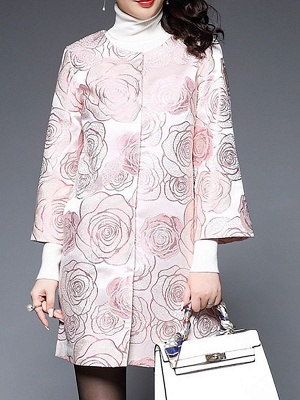 Pink Floral Printed Casual Shift Coat_6